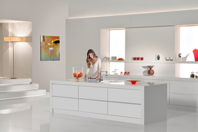 Woman in a white kitchen